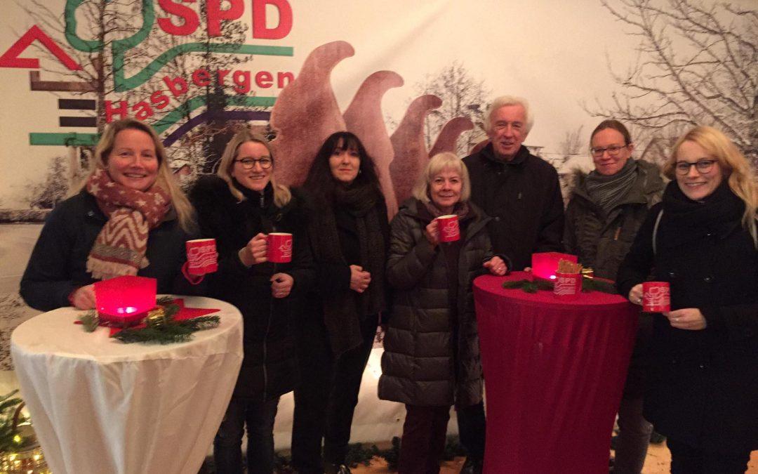 SPD Hasbergen mit Glühweinstand auf dem Weihnachtsmarkt